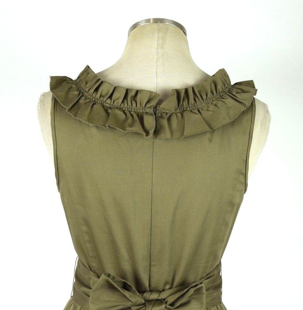 J.Crew Olive Ruffled Cotton Boat Neck Knee Length Shift Dress Sleeveless M image 5
