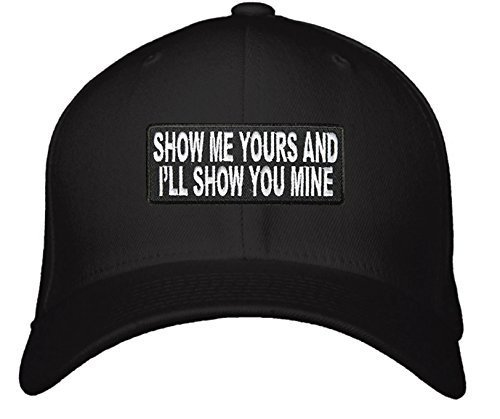 Show Me Yours And I'll Show You Mine Hat - Adjustable Men's Black/White - Funny