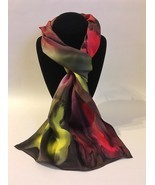 Hand Painted Silk Scarf Yellow Watermelon Red Olive Green Unique Gift Re... - $56.00