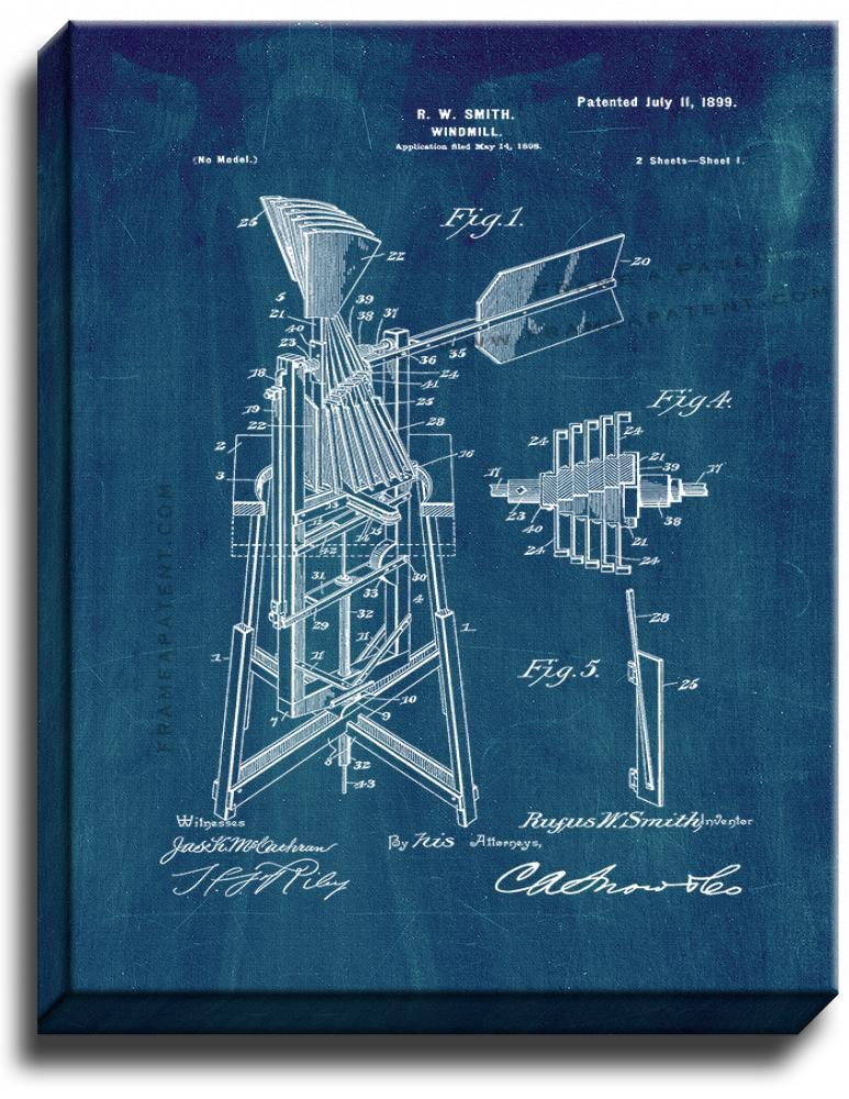 Primary image for Windmill Patent Print Midnight Blue on Canvas