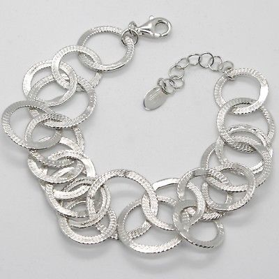 925 STERLING SILVER BRACELET, FINELY WORKED CIRCLES MADE IN ITALY BY MARIA IELPO