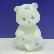 Fenton glass teddy bear figurine sculpture milk white Autumn leaves sign... - $82.08