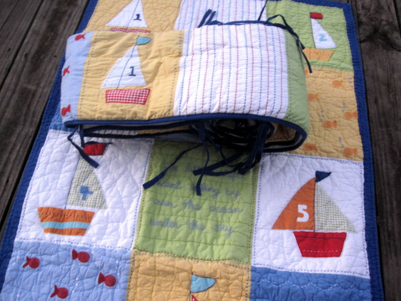 Primary image for Pottery Barn Nautical Patchwork Crib Quilt 33x49 and Bumper Sailboats Fish