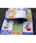 Pottery Barn Nautical Patchwork Crib Quilt 33x49 and Bumper Sailboats Fish - $39.71