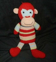 "12"" Baby Adventure 2006 Red Stripes Knit Monkey Stuffed Animal Plush Toy Lovey - $27.12"