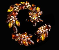 1950s Large Rhinestone brooch set - statement jewelry - Long cluster cli... - $135.00