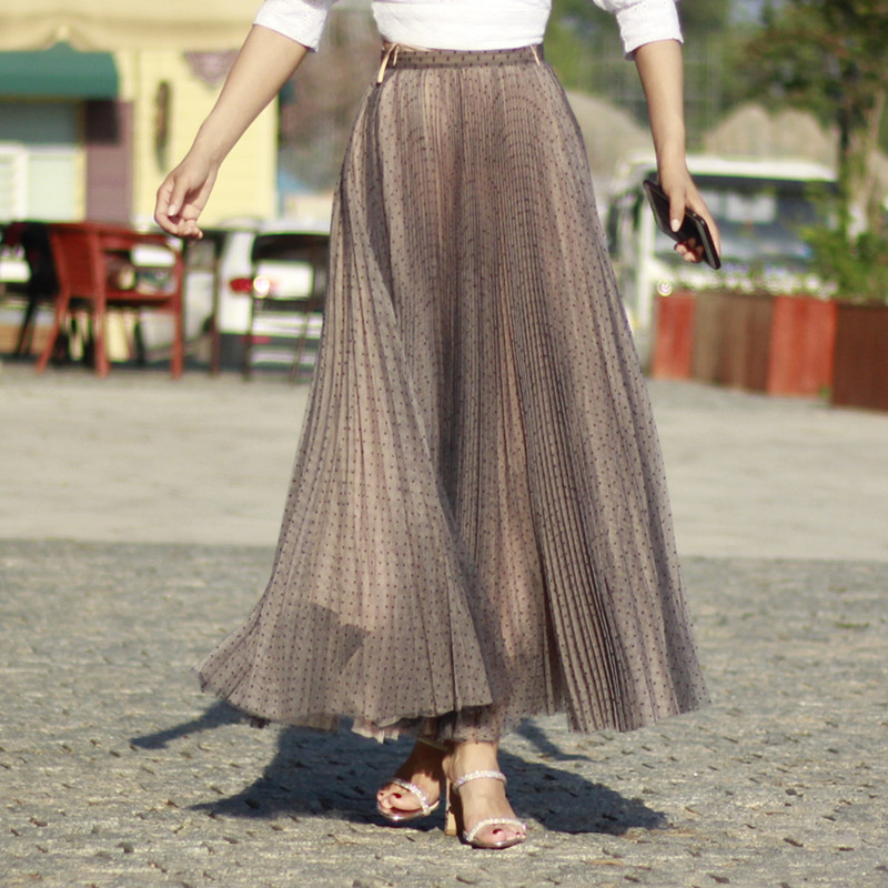 Women Full Pleated Long Skirt Pleated Tulle Tutu Skirt Party Tulle Outfits Plus  image 3