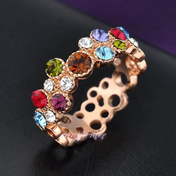 multi color Swarovski crystal cocktail ring hot sale hollow cirle ring image 3