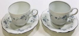 2CT Johann Haviland Bavaria Germany Blue Garland  Flat Coffee/Tea Cup an... - $24.70