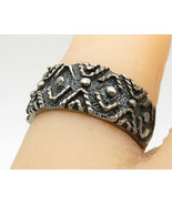 925 Silver - Vintage Mini Ball Bead Twist Detail Pattern Band Ring Sz 5 ... - $23.19
