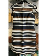 ANN TAYLOR Navy, Brown, Cream Striped Sleeveless Sheath Dress Sz 6 $149 NWT - $74.15