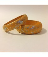 Bracelet Pair Orange Silver Splatter Painted Wood Bangle Set of 2 New - $19.00
