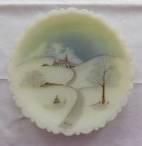 Vintage 1980 Fenton Custard Glass Plate Princess House Handpainted Winte... - $17.99