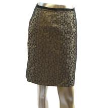 Ann Taylor Loft Womens Pencil Skirt Metallic Gold Black Geometric Size 2 - $18.66