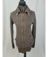 Free People women S/P zip up sweater jacket button sleeve cuffs raw stit... - $39.60