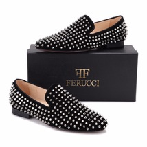 Men FERUCCI Black Velvet Slippers Loafers Flat With Silver Spikes - $199.99