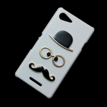 Cute Mustache Hat Glasses Designed Hard Back Skin Case Cover for Sony Xperia E3 - $5.96