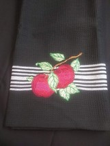 Apple Design Embrodered on Mainstay Towel Black with White Border - $5.94
