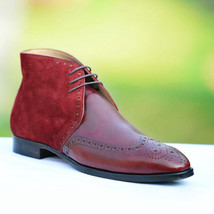 Handmade Men's Red Suede Brown Leather Wing Tip Brogues Chukka Lace Up Boot image 2