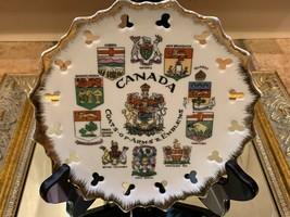 CANADA ONTARIO ALBERTA QUEBEC COAT OF ARMS & EMBLEMS SOUVENIR PLATE VINTAGE - $14.36
