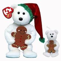 Goody the Xmas Bear with Gingerbread Ty Beanie Baby & Jingle Beanie 2pc ... - $19.75
