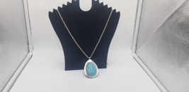 Vintage Chunky Silver Tone & Faux Turquoise Oval Pendant & Silver Tone C... - $17.38
