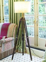 NAUTICALMART DESIGNER TRIPOD FLOOR LAMP STAND TEAK WOOD SOLID LAMP STAND... - $183.15