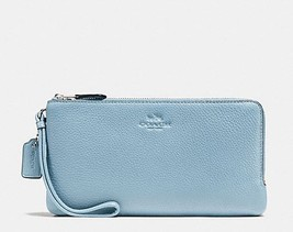 NWT! AUTHENTIC COACH DOUBLE ZIP WALLET IN PEBBLE LEATHER STYLE: F54056