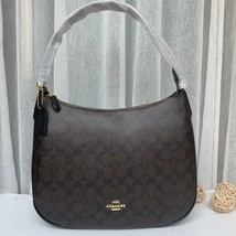 Coach F29209 Zip Shoulder Bag Signature Coated Canvas Black Brown - $175.00