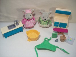 LOT OF 2 LIL WOODZEEZ HANDY DANDY MICE FLOCKED FIGURES, MIMI & BENJAMIN ... - $14.65