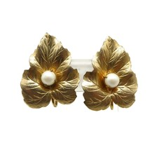Vintage Sarah Coventry Gold Tone Leaf Clip-ons Earrings - $14.00