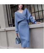 CBAFU spring bling knitted 2 piece set women lantern sleeve v neck sweat... - $117.70