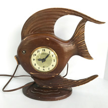 Vintage Lanshire Movement Tropical Fish Wood Hand Carved Mantel Electric... - $129.99