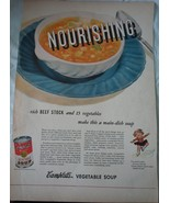 Campbell's Vegetable Soup Nourishing Advertising Print Ad Art 1940s - $4.99