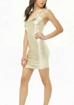 Forever 21 Shiny Liquid Gold Metallic Cami Mini Dress L NEW - $11.34