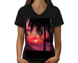 Romantic Sunset Shirt Beach Palm Tree Women V-Neck T-shirt