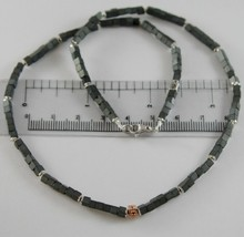 Necklace Giadan 925 Silver Hematite & Shiny with 8 Diamond Black Made in Italy image 2