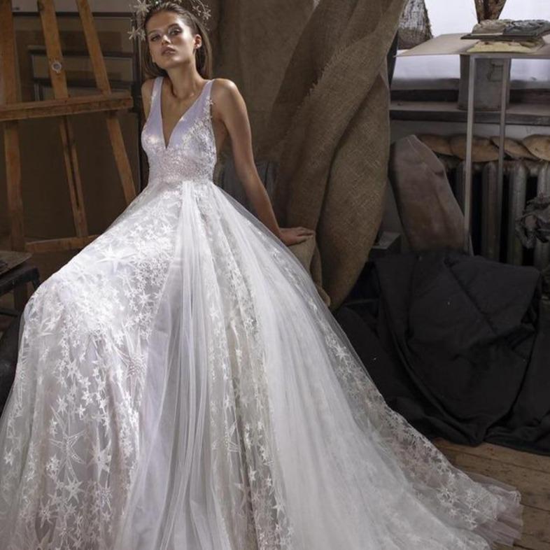 Lorie wedding dresses with shiny stars tulle long train 2020 sleeveless v neck boho bridal gowns