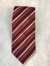 Geoffrey Beene Red Black White Grey Striped Silk Necktie - $3.20