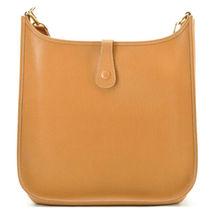 HERMES Evelyn GM Shoulder Bag Leather Brown Auth 9208 image 4