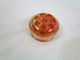 Vintage Marigold Carnival Glass Flower Frog for Vase Iridescent Glass 8 ... - $17.09