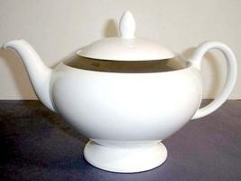 Wedgwood Satine Platinum Footed Teapot White English Bone China New - $64.90