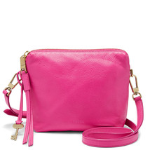 Fossil Maya Hot Pink Leather/Cotton Lining Zipper Closure Crossbody - $289.99