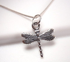 Very Small Dragonfly Necklace Sterling Silver Corona Sun Jewelry entomologist - $15.83
