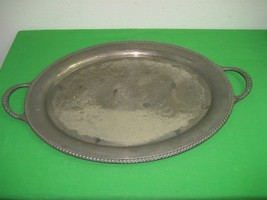 Vintage Oval International Silver Co. Silver Plated Serving Tray with Ha... - $32.68