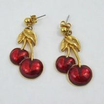 Vtg Avon gold tone red enamel Cherry dangle earring signed - $20.89