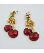 Vtg Avon gold tone red enamel Cherry dangle earring signed - £16.77 GBP