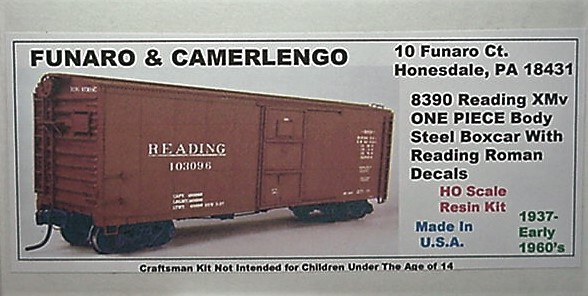 Funaro & Camerlengo HO Reading XMv Steel Boxcar Kit 8390