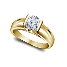 14K Yellow Gold Plated 925 Silver Round Cut White CZ Anniversary Solitaire Ring - £49.77 GBP