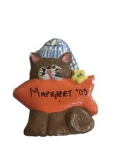 "Vintage Christmas Tree Ornament Cat With Fish Personalized Margaret 03-3"" - $11.93"